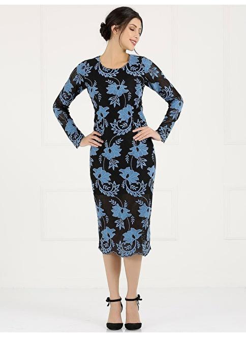 Faik Sönmez Çiçek Desenli Uzun Kalem Elbise Renkli
